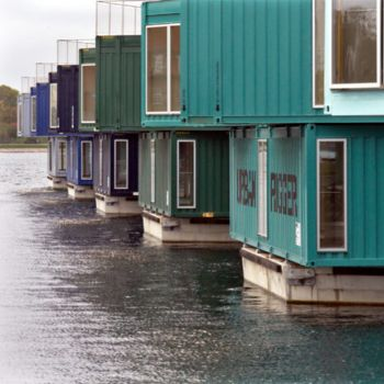 Floating student housing platforms with upcycled containers